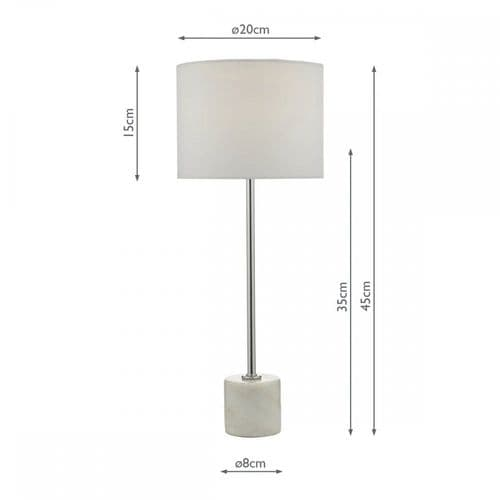 Dar MIS422 Misu Table Lamp White And Grey Marble With Shade